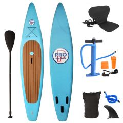 Inflatable Stand Up Paddle Board with Kayak Seat and Premium SUP Accessories-Light Blue
