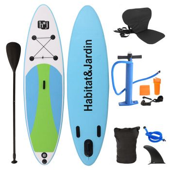 Inflatable Stand Up Paddle Board with Kayak Seat and Premium SUP Accessories-Cyan
