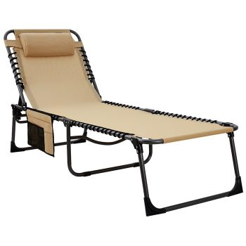 KingCamp 4-Positions Reclining Outdoor Chaise Lounge Chair Textilene